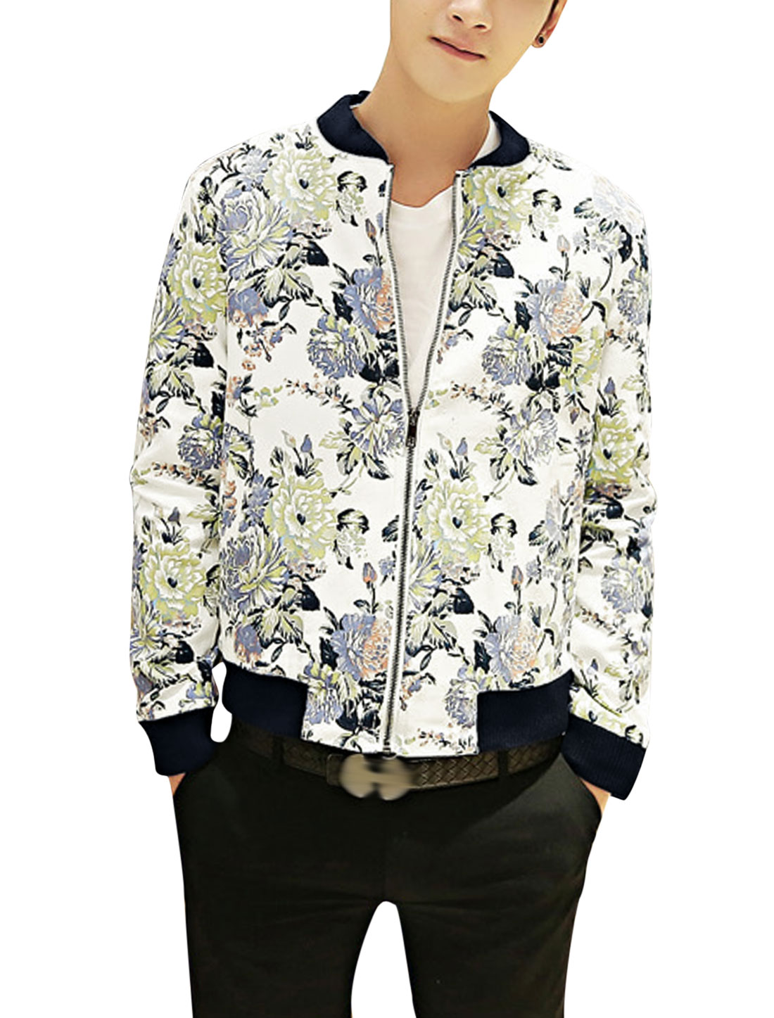 Men Leisure Zipper Closure Allover Flower Pattern Lining Jacket White Steel Blue S
