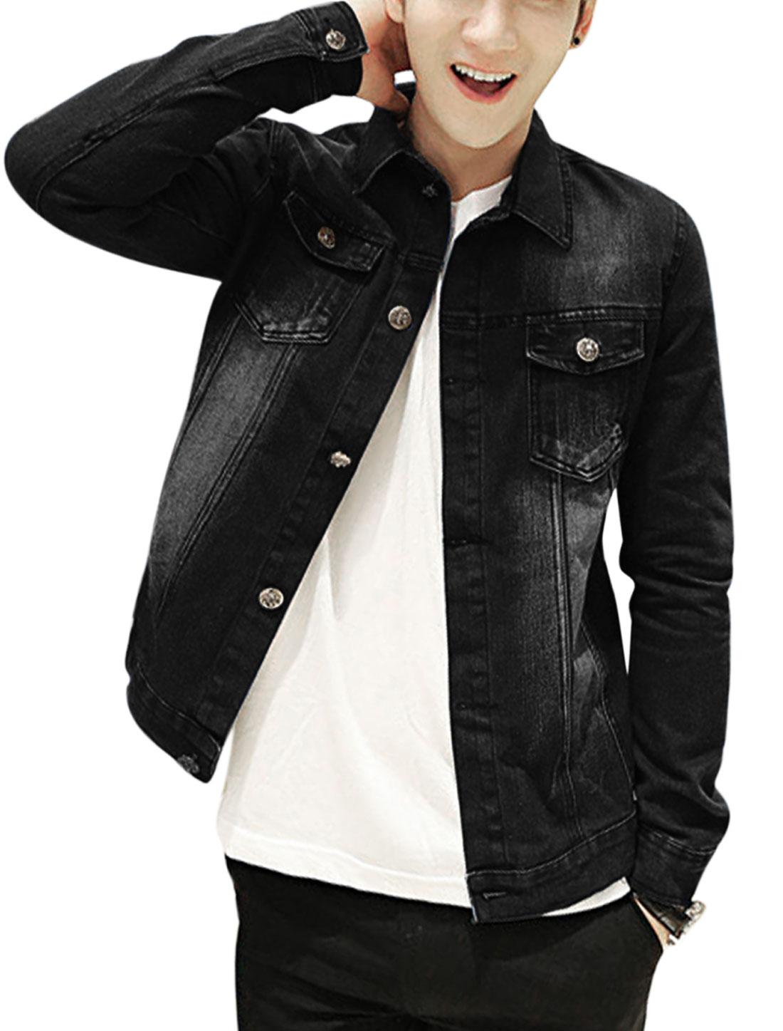Men Signle Breasted Two Patch Chest Pockets Casual Jean Jacket Black S