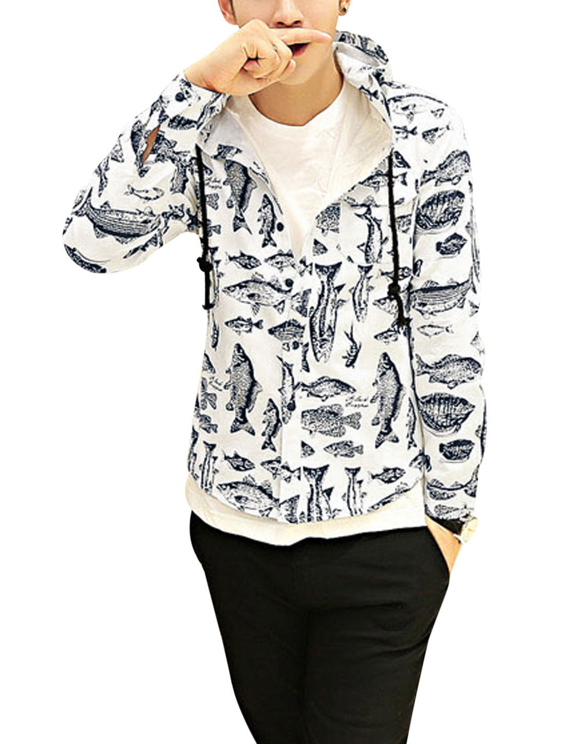 Men Fashion Buttoned Cuffs All Over Fish Pattern Drawstring Hooded Jacket White S