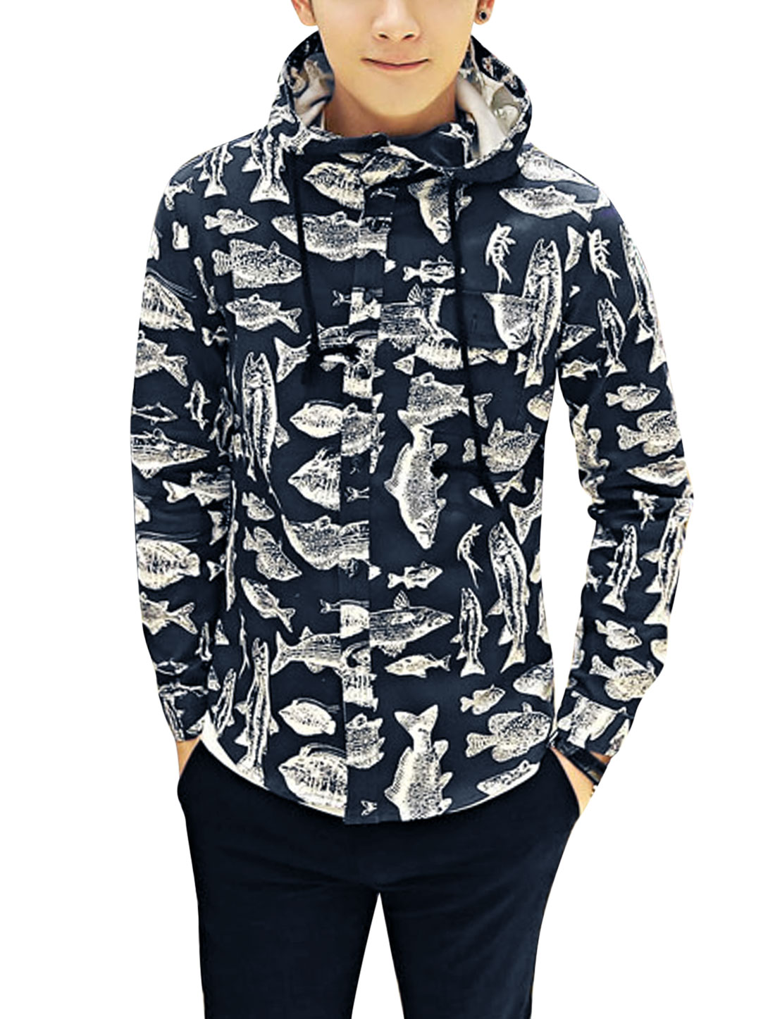 Men Fashion Single Breasted All Over Fish Pattern Drawstring Hooded Jacket Navy Blue S