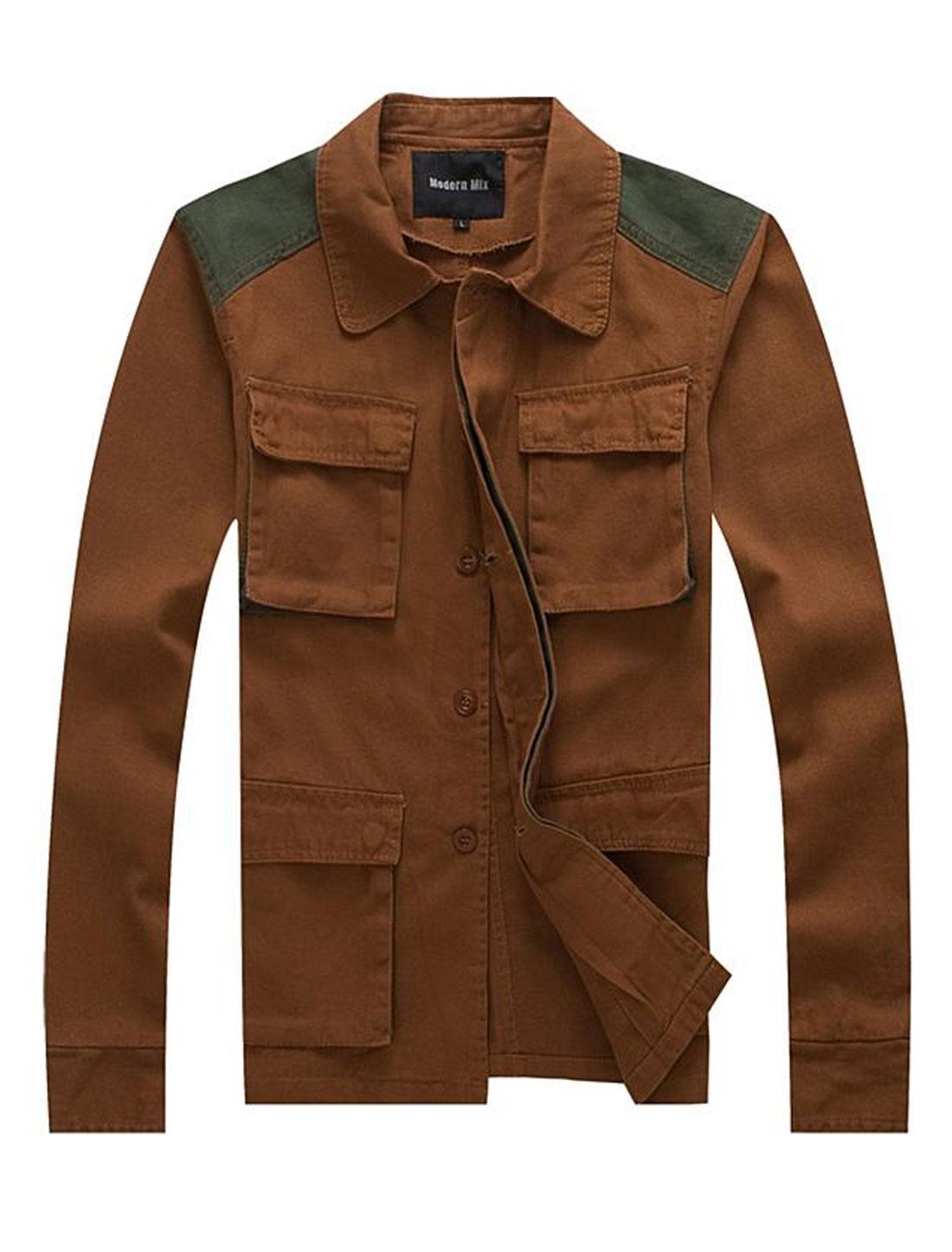 Men Concealed Placket Contrast Color Shoulder Casual Jacket Brown M