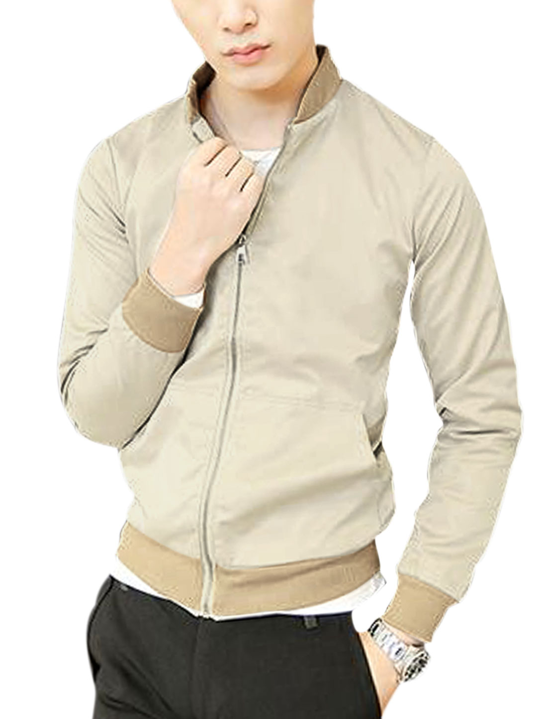 Men Stand Collar Long Sleeve Ribbing Cuffs Zip Closed Jacket Khaki M
