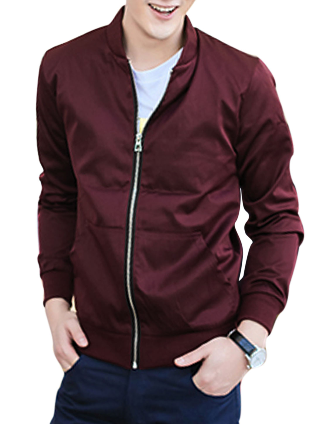 Men Stand Collar Long Sleeve Kangaroo Pocket Jacket Burgundy M