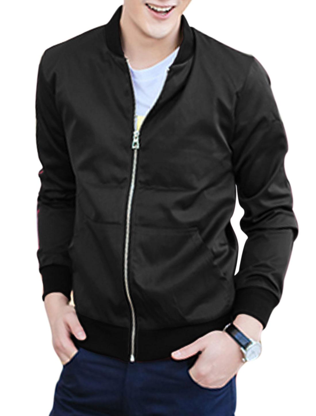 Men Stand Collar Long Sleeve Ribbing Hem Kangaroo Pocket Jacket Black M