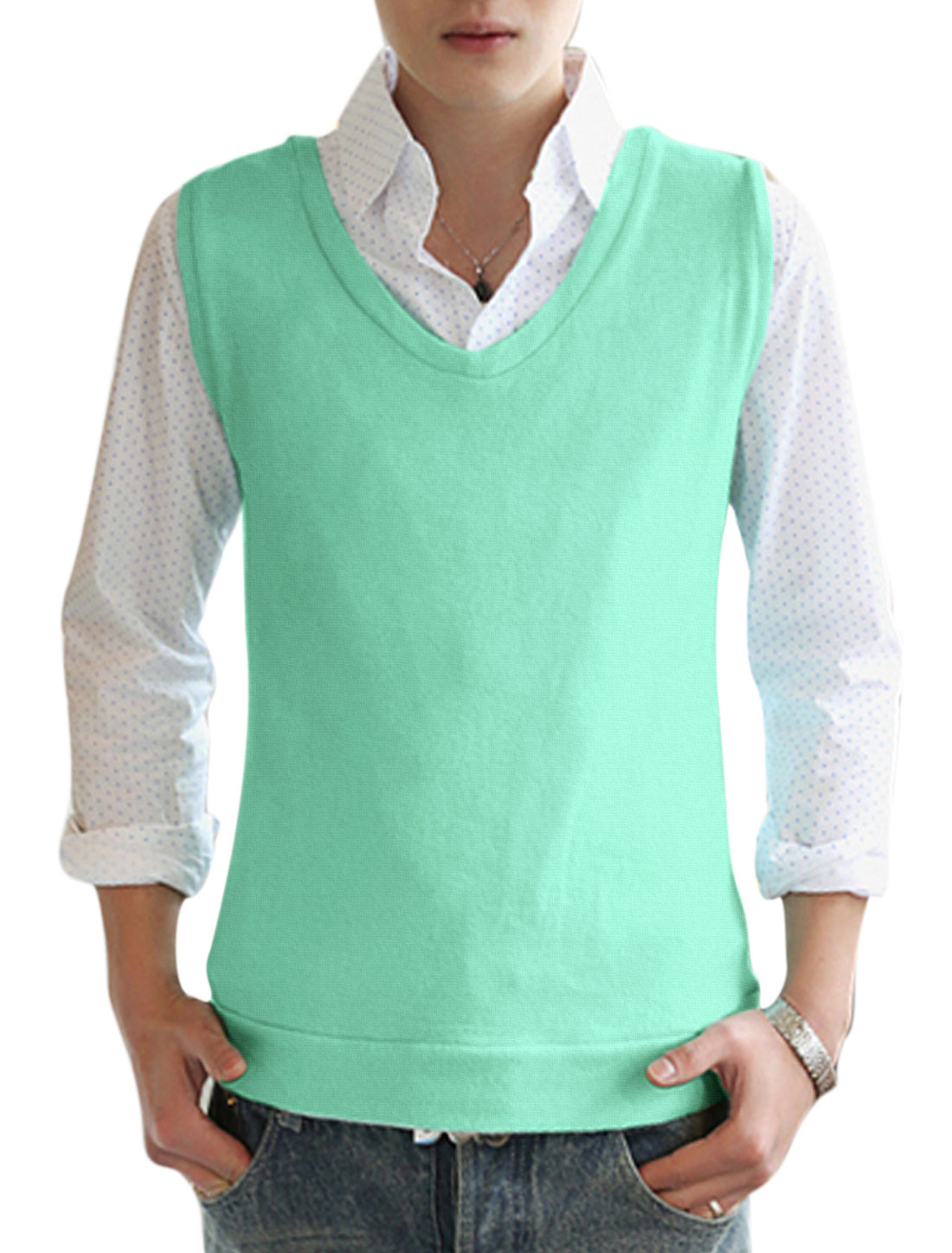 Men V Neck Sleeveless Stretchy Fashionable Cozy Fit Knit Vests Mint M