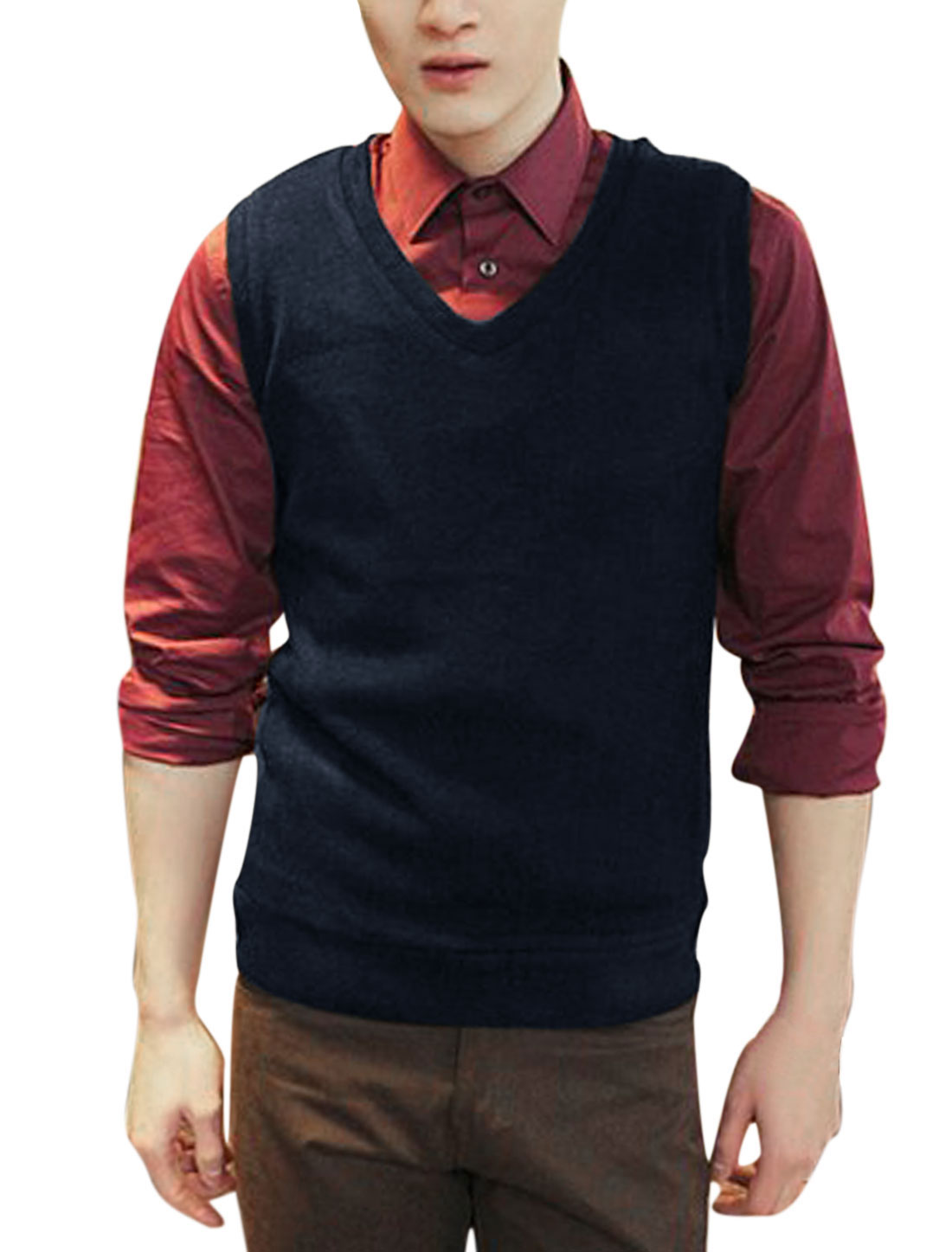 Men V Neck Stretchy Casual Knit Vests Navy Blue M