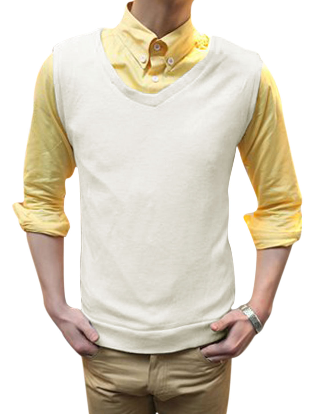 Men V Neck Slim Fit Elastic Stylish Knit Vests White M