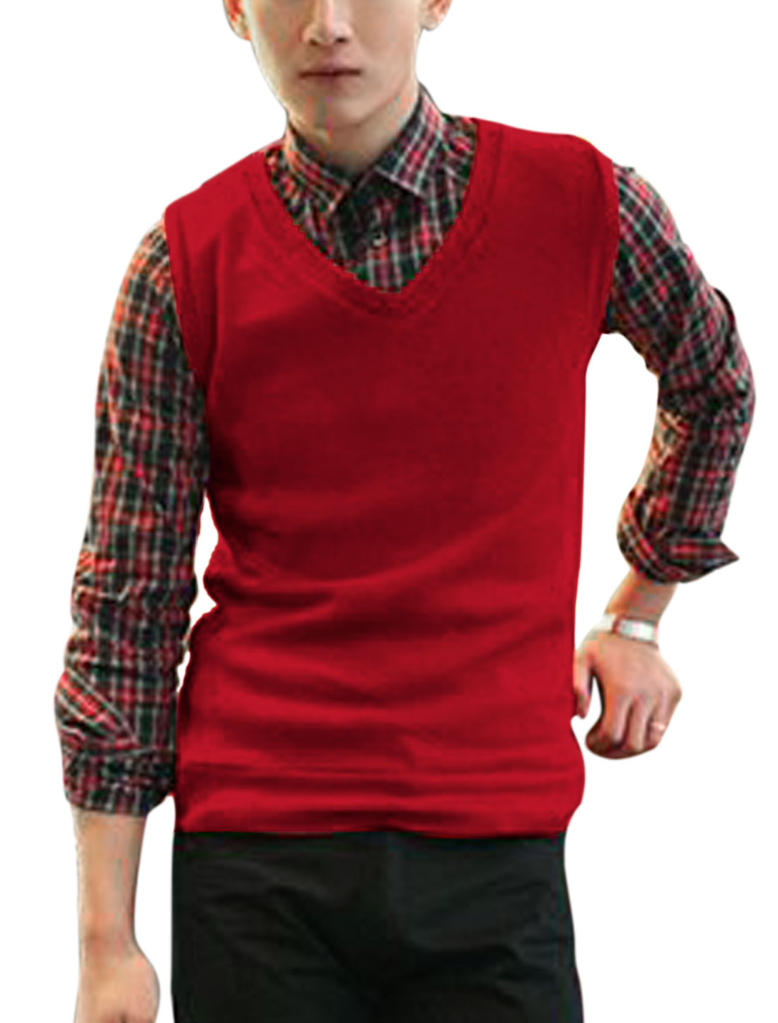 Soft Elastic V Neck Casual Knit Vests for Men Red M