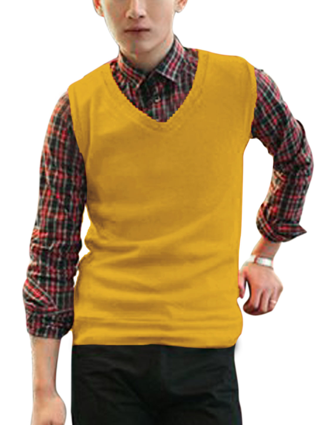 Slim Fit V Neck Fashionable Casual Knit Vests for Men Yellow M
