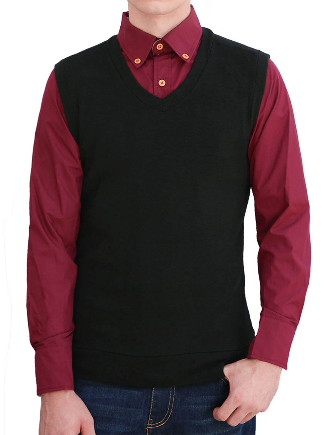 New Style Stretchy Soft V Neck Knit Vests for Men Black M
