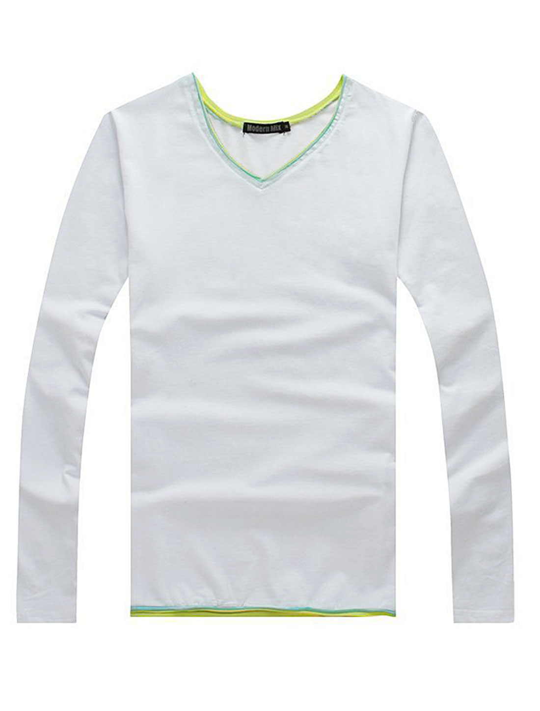 Soft Patched Detail Pullover Casual Shirt for Men White M