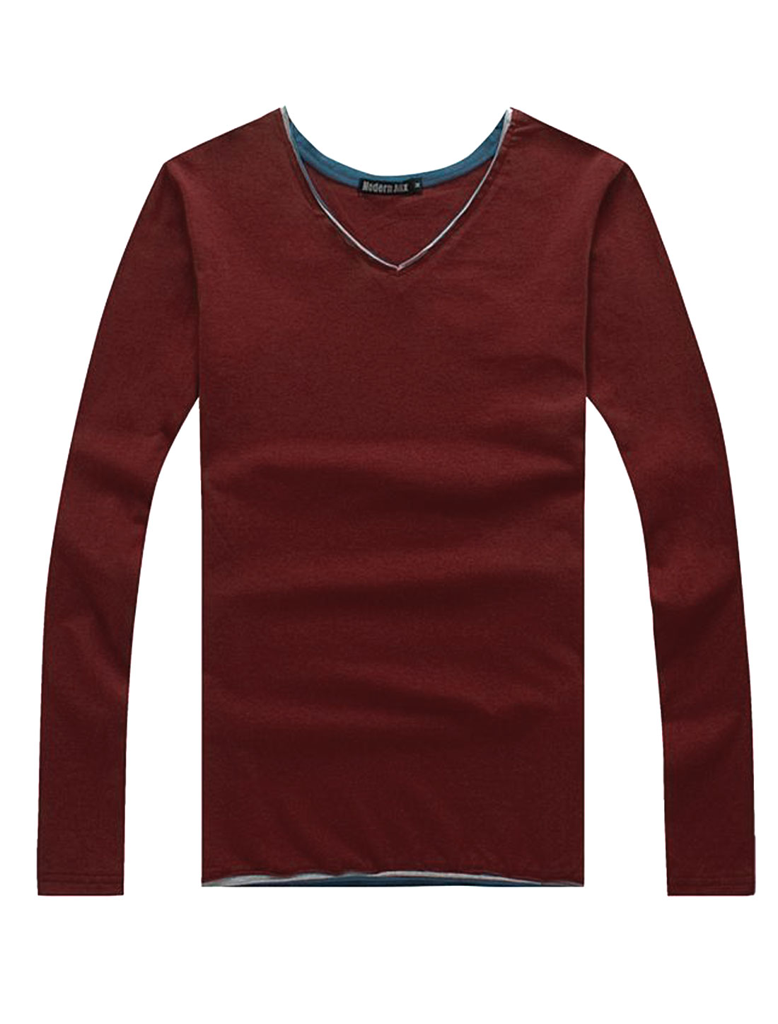 Soft Patched Detail Slipover Design Casual Shirt for Men Burgundy M