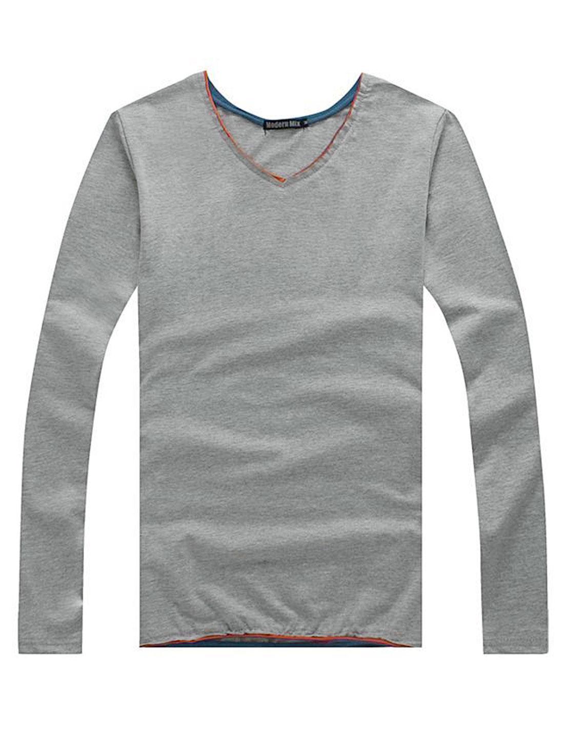 Men Pullover V Neck Slim Fit Leisure Shirt Light Gray M