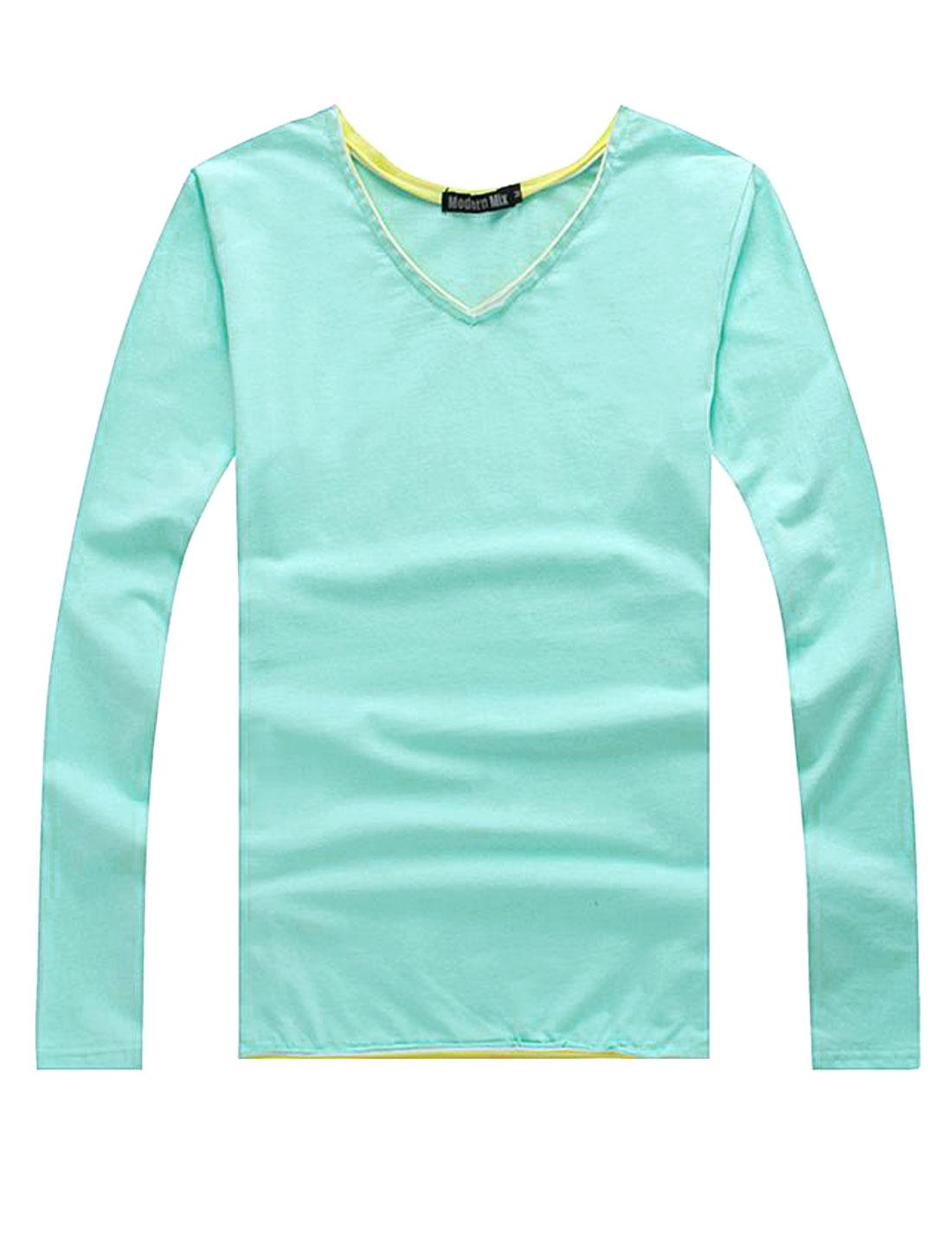Cozy Fit V Neck Patched Detail Shirt for Men Light Blue M