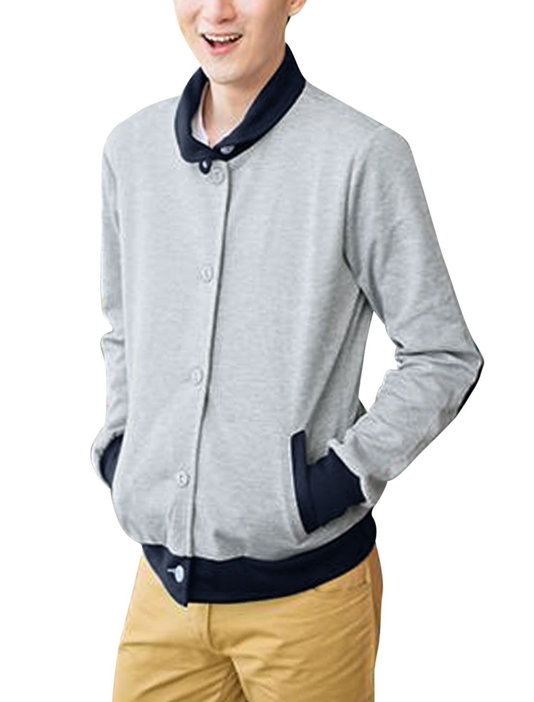 Men Two Pockets Elbow Patches Contrast Color Casual Jacket Light Gray M