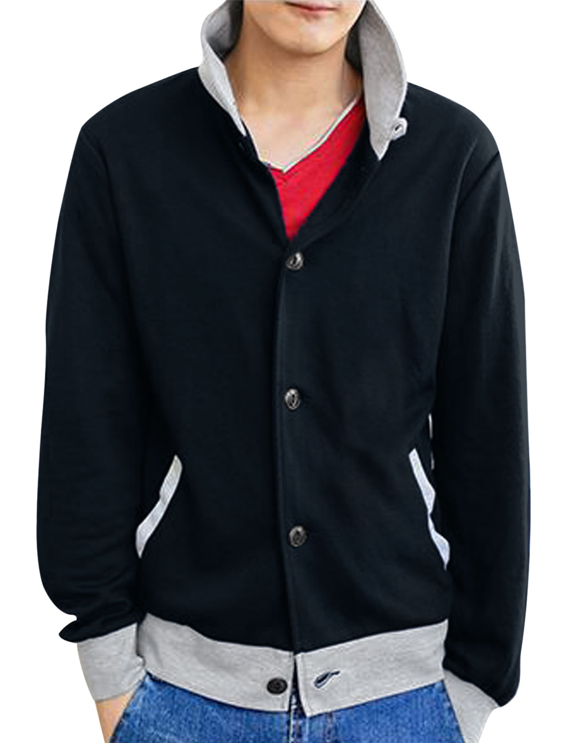 Men Turndown Collar Elbow Patches Contrast Color Casual Jacket Navy Blue M