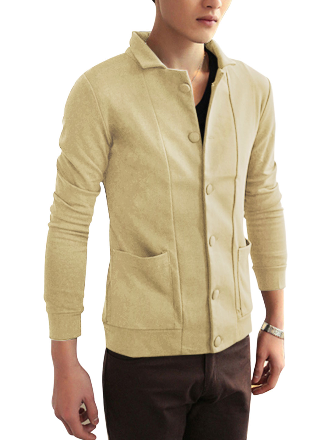 Men Long Sleeve Single Breasted Leisure Jacket Beige M