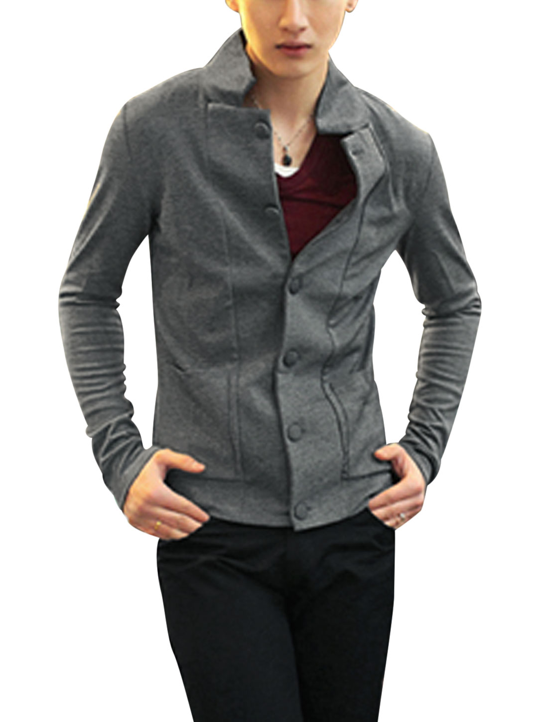 Men Button Closure Front Turn Down Collar Stylish Jacket Dark Gray M