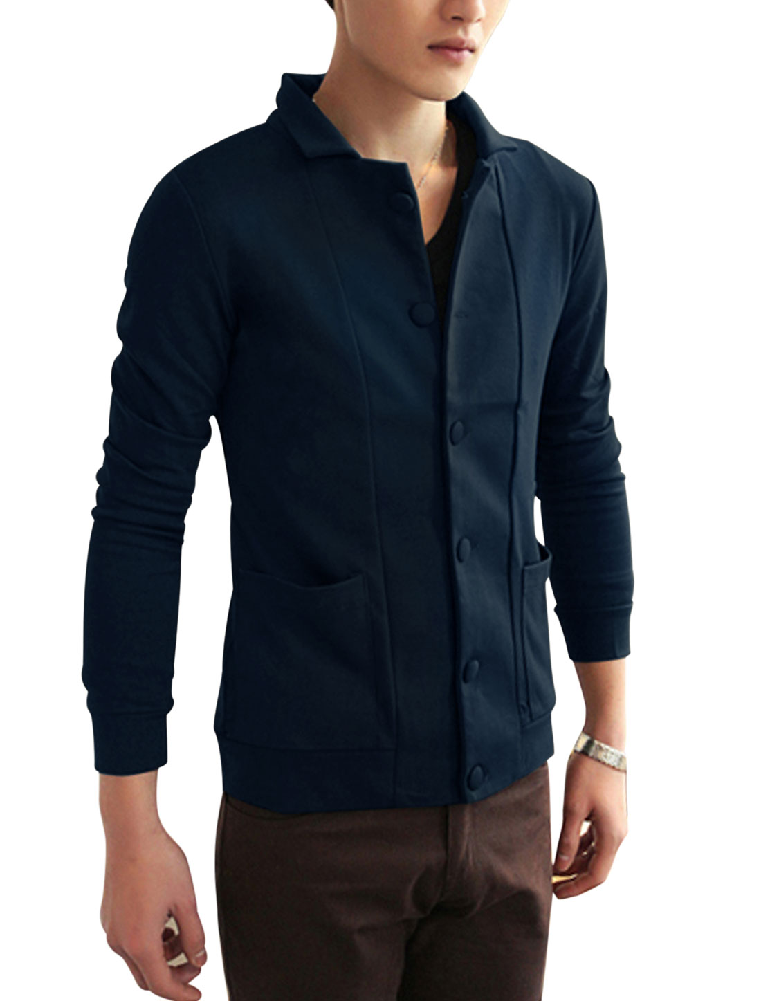 Men Turn Down Collar Cozy Fit Jacket Navy Blue M