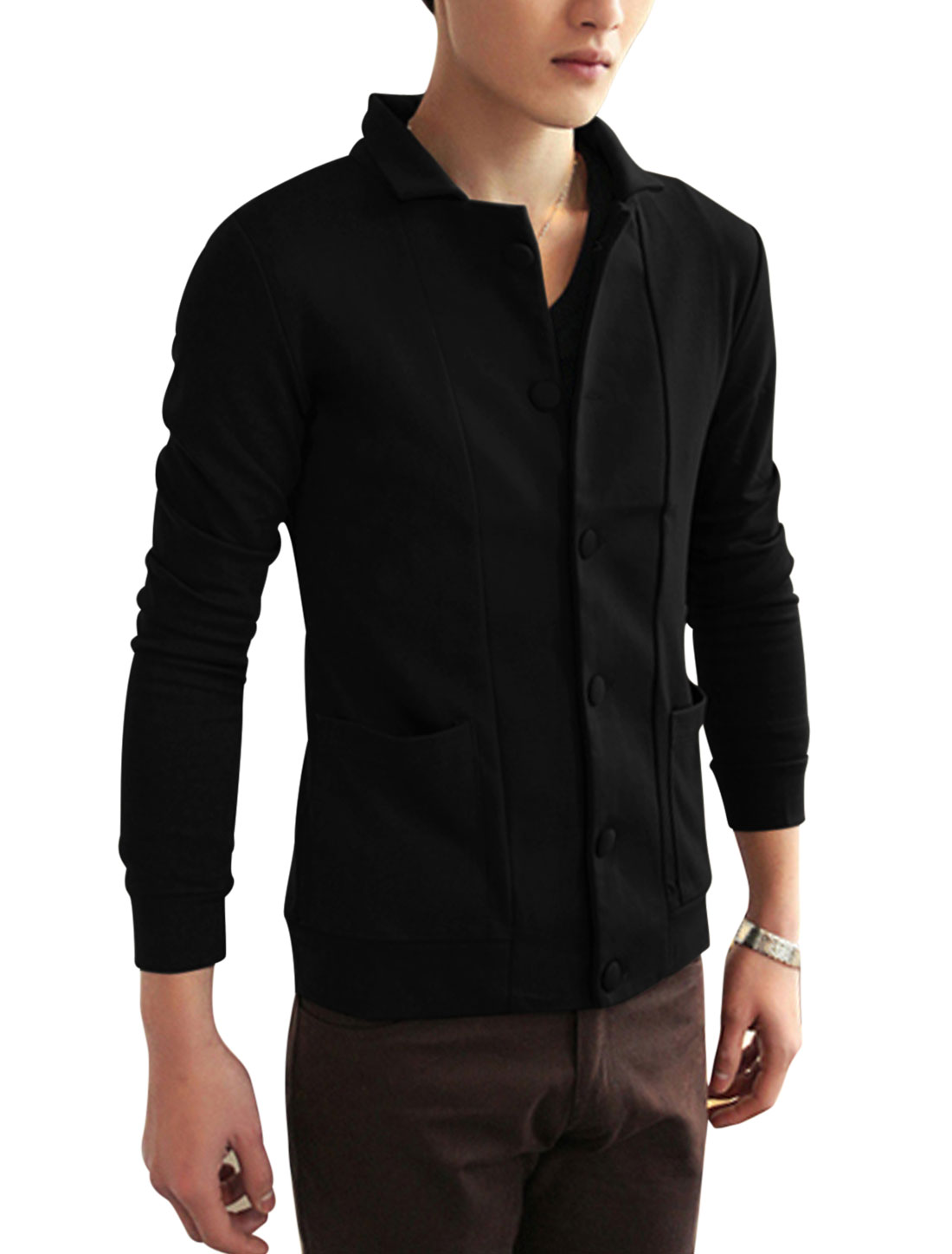 New Style Fashion Dobule Seam Pocket Front Jacket for Men Black M