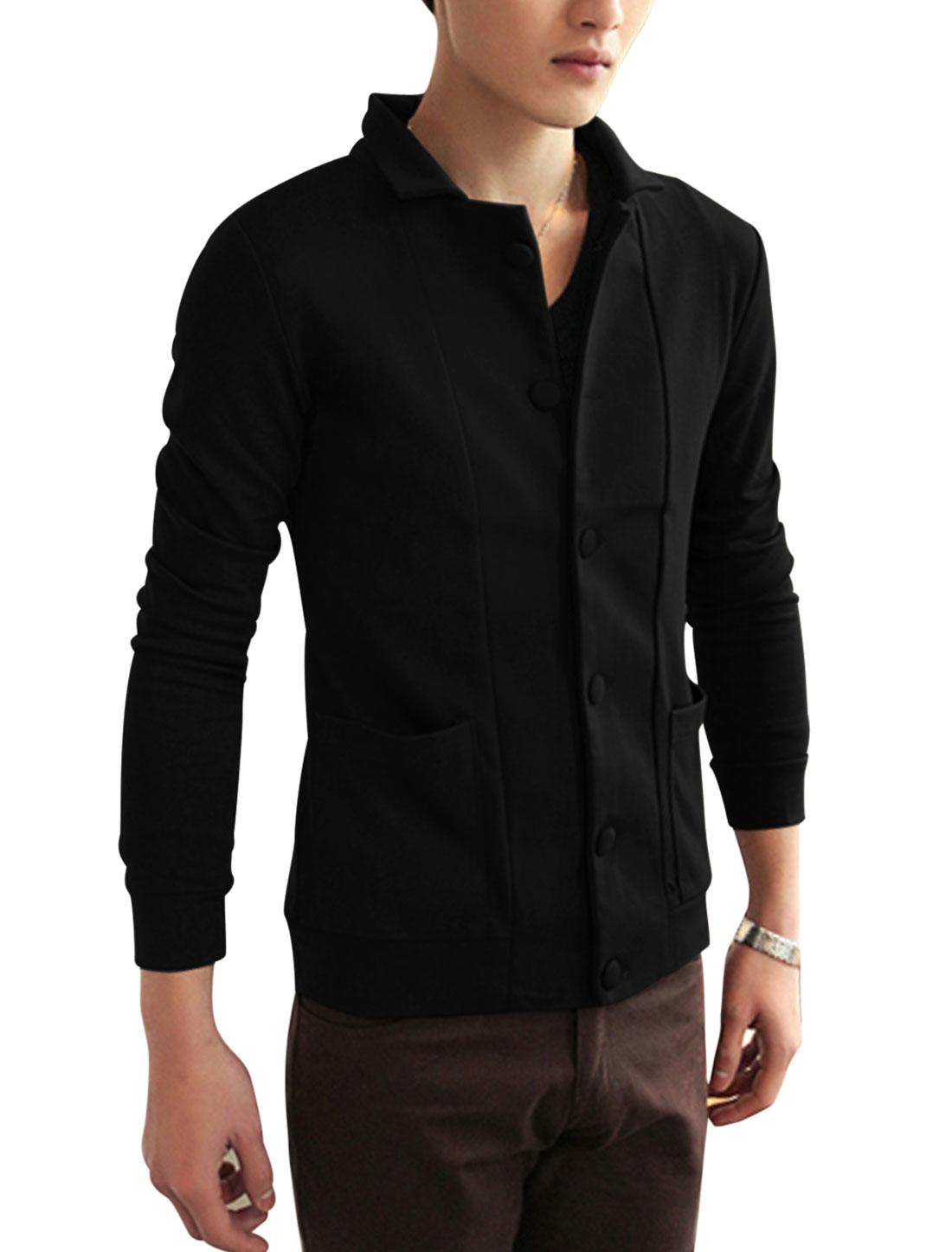 New Style Fashion Dobule Seam Pocket Front Jacket for Men Black M