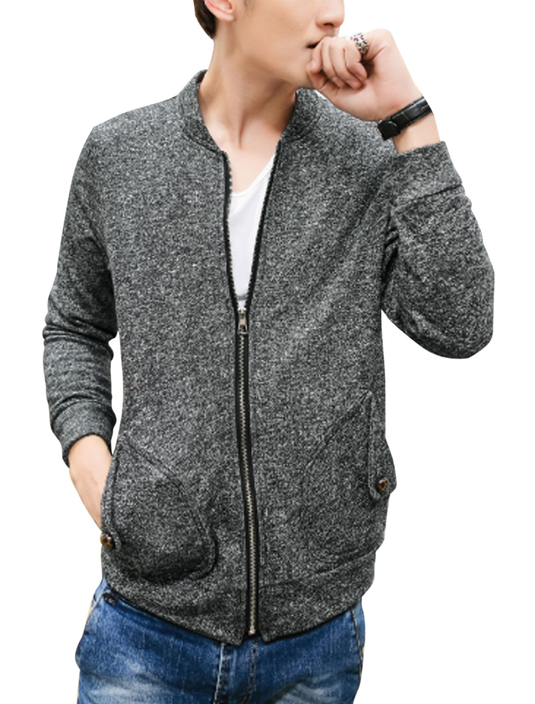 Men Round Neck Zip Fly Double Slant Pockets Front Casual Knit Jacket Dark Gray M