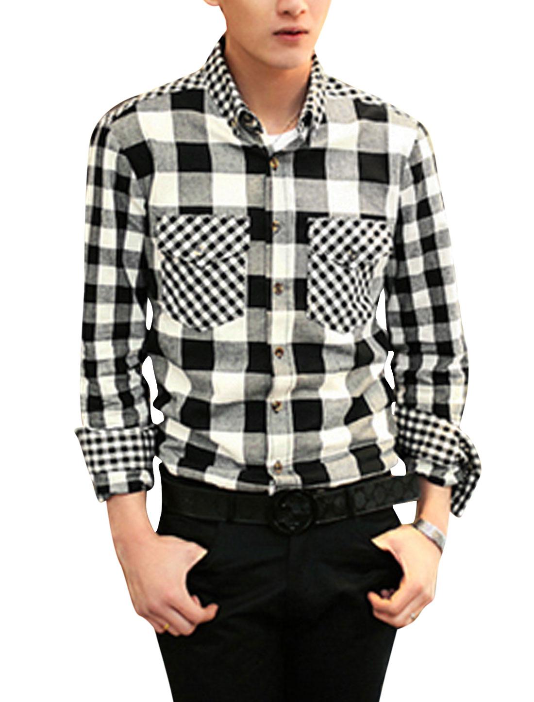 Men Leisure Check Pattern Flap Chest Pocket Contrast Color Shirt Black White M