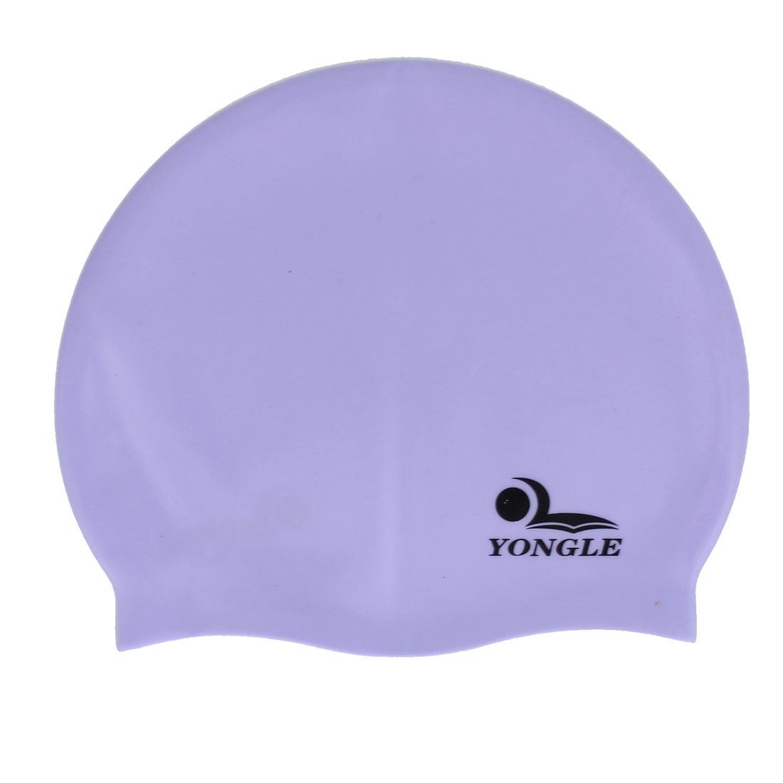 Ladies Men Dome Design Stretch Head Band Silicone Swimming Cap Hat Purple