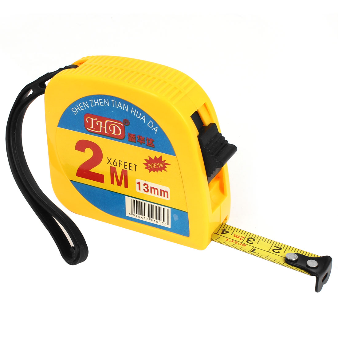 Plastic Housing 2 Meter Measuring Range 12mm Wide Metal Ruler Tape Yellow