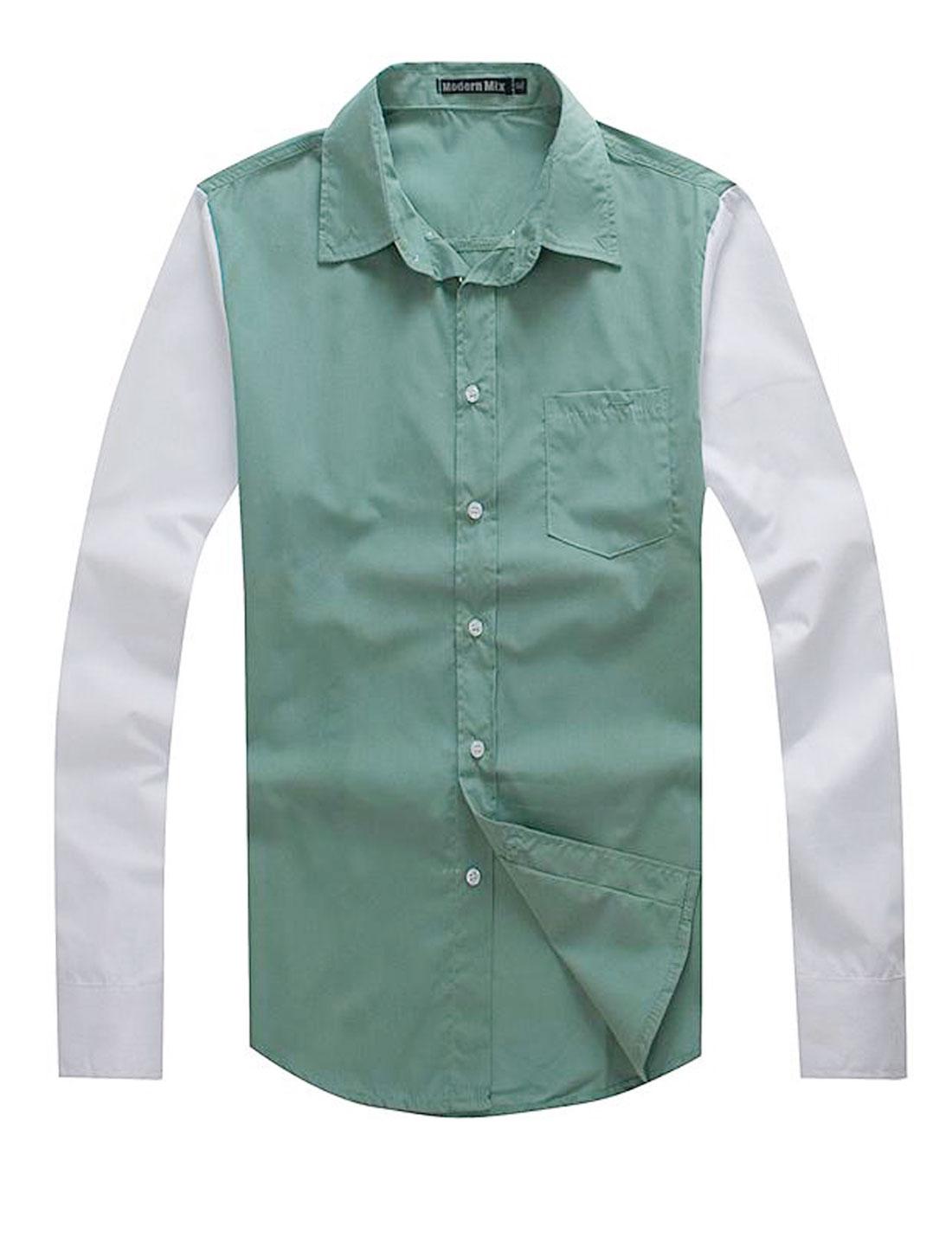 Men Casual Point Collar Contrast Color Long Sleeve Button Down Shirt Light Green M