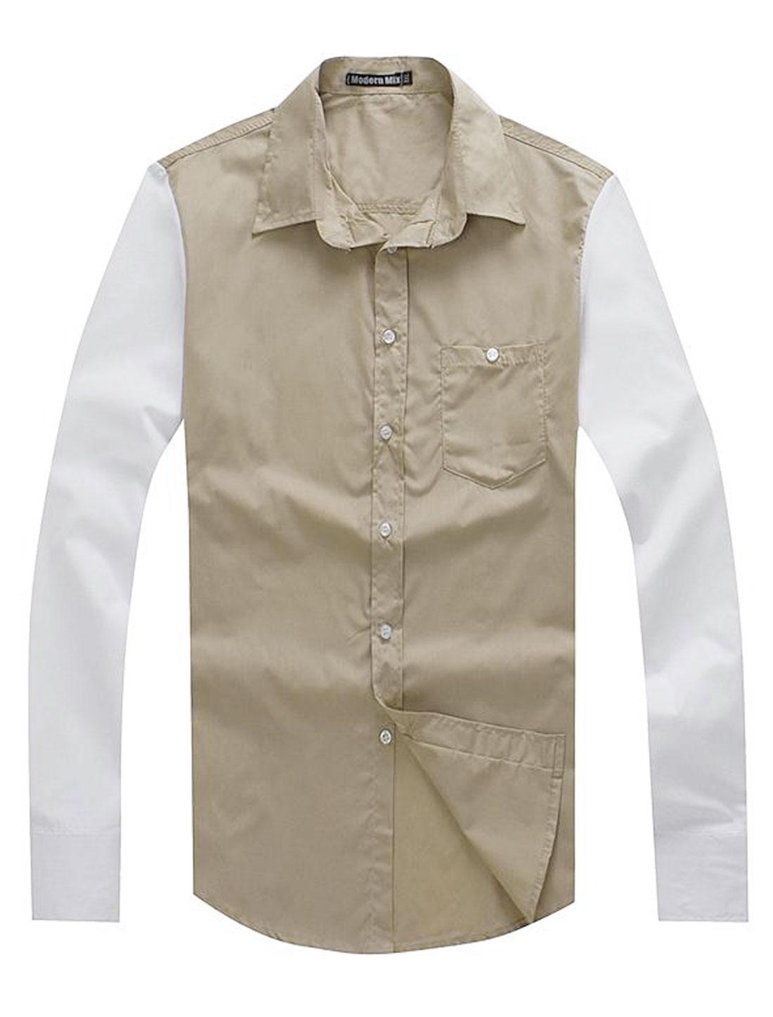 Men Casual Point Collar Two Tone Long Sleeve Button Down Shirt Khaki M
