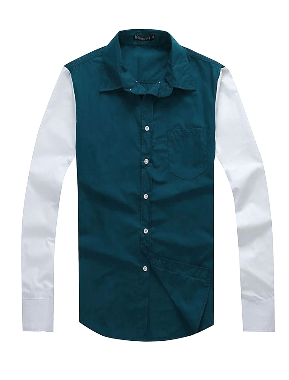 Men Casual Point Collar Two Tone Panel Button Down Shirt Peacock Blue M