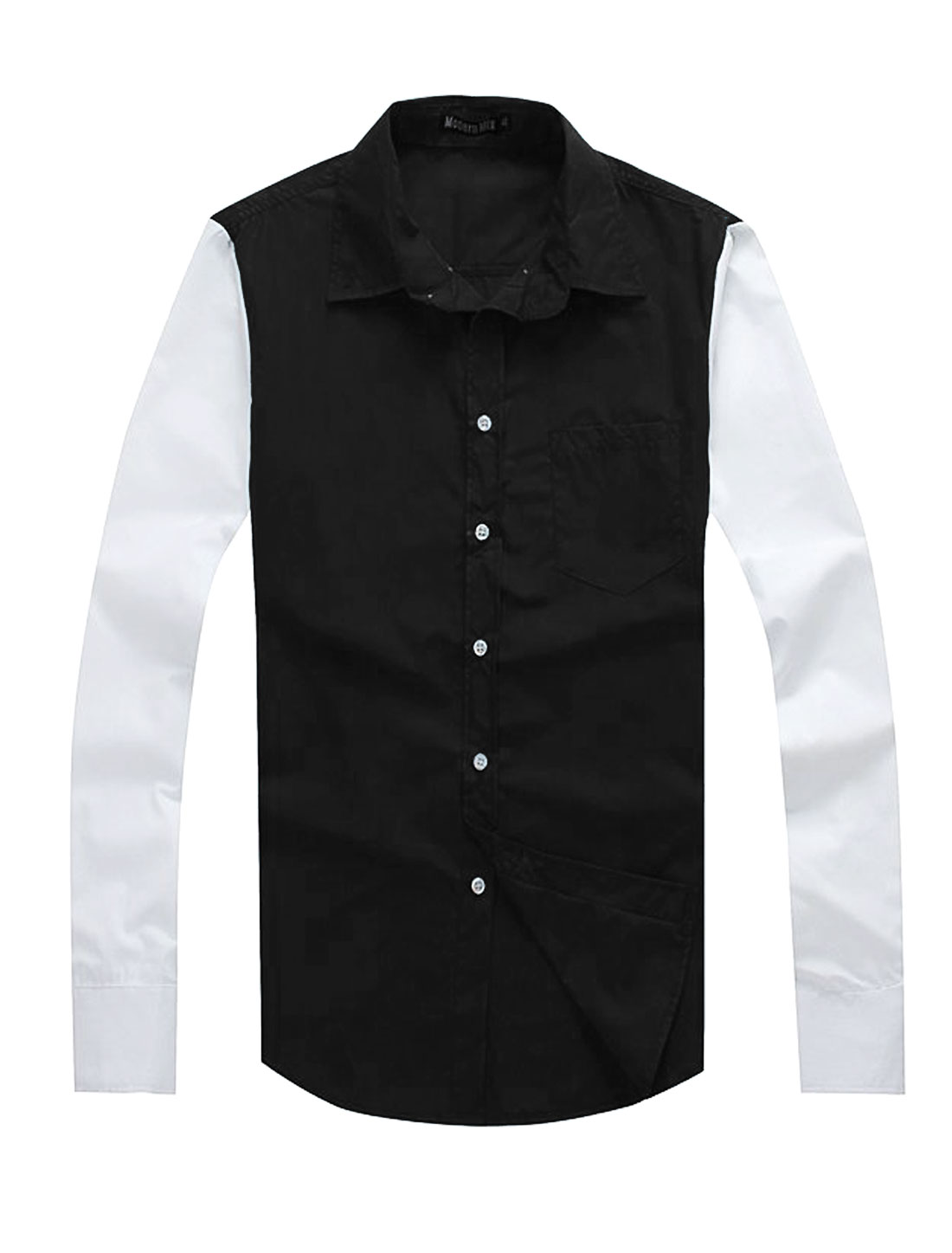 Men Casual Point Collar Two Tone One Chest Pocket Shirt Black M