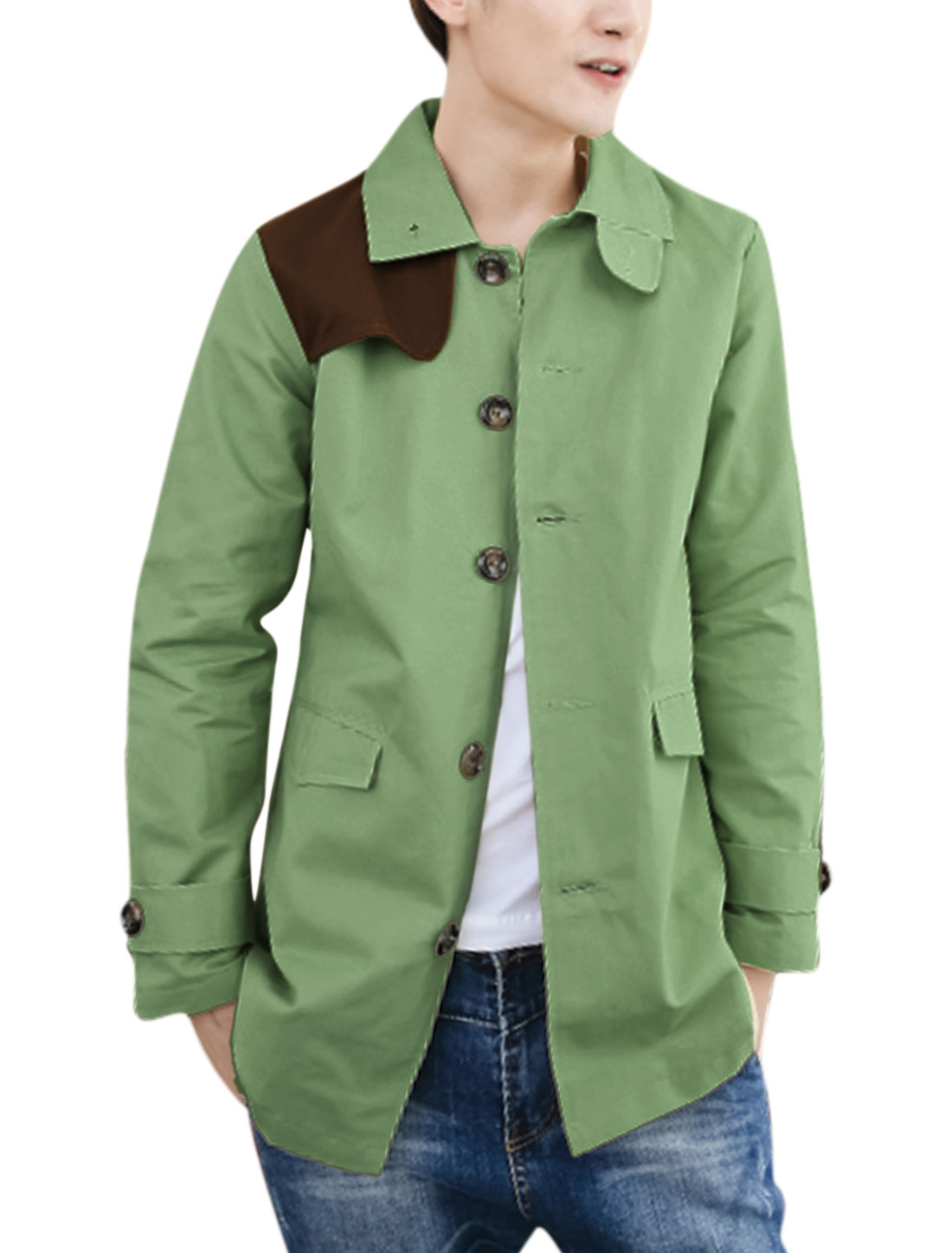 Men Full Lined Contrast Color Gun Flap Elbow Patches Casual Jacket Light Green M