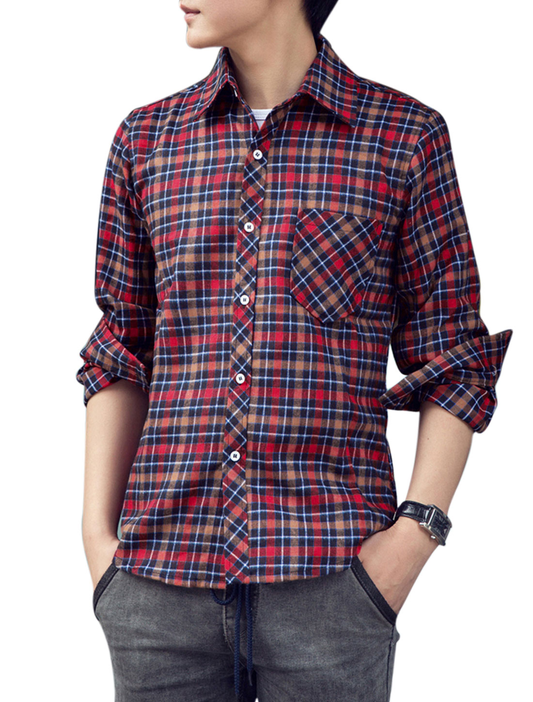 Men Leisure All Over Plaids Breast Pocket Single Breasted Shirt Red Khaki M