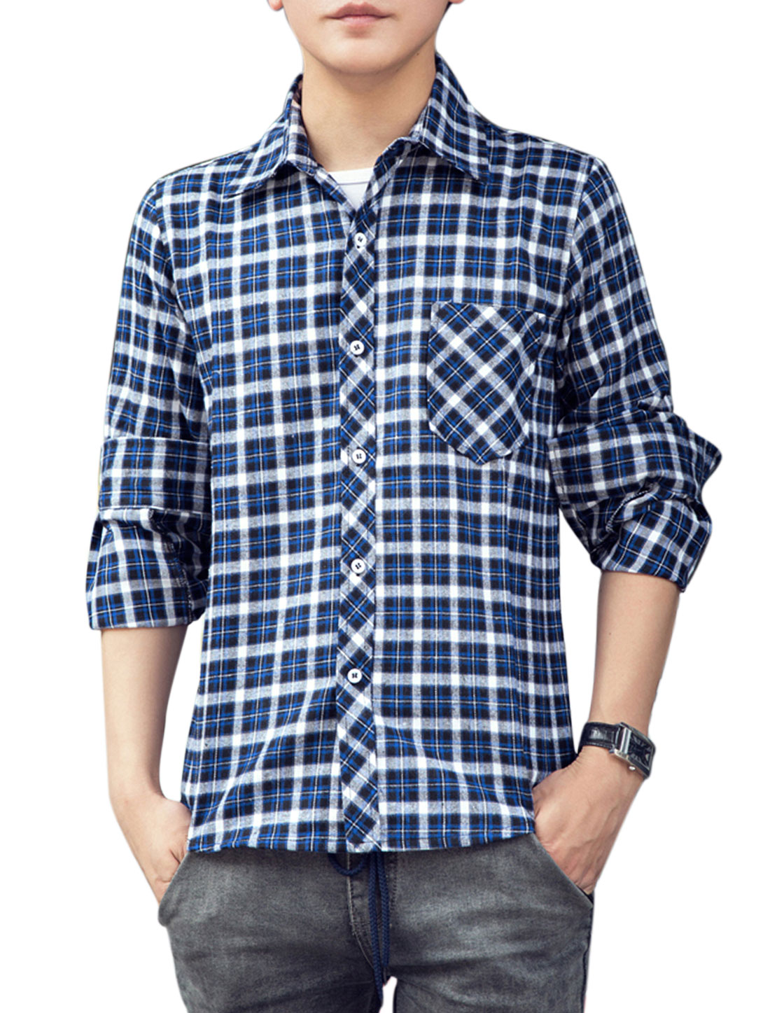 Men Leisure All Over Plaids Breast Pocket Long Sleeve Shirt Blue White M