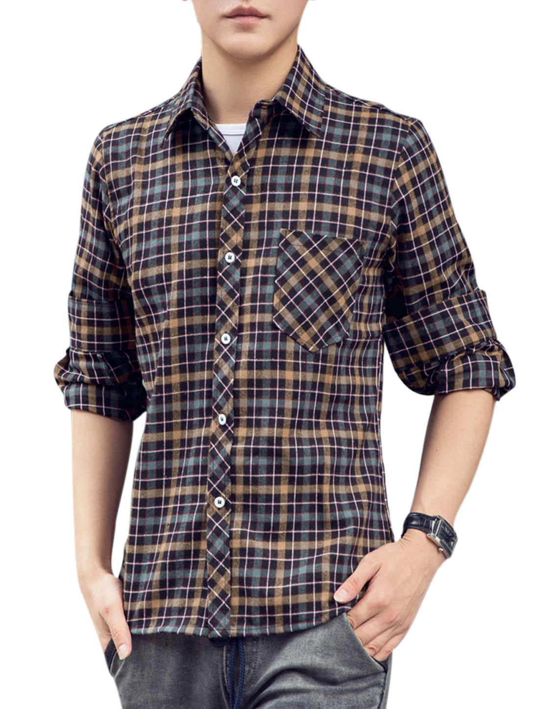 Men Leisure All Over Plaids Breast Pocket Button-Up Shirt Khaki Teal Green M