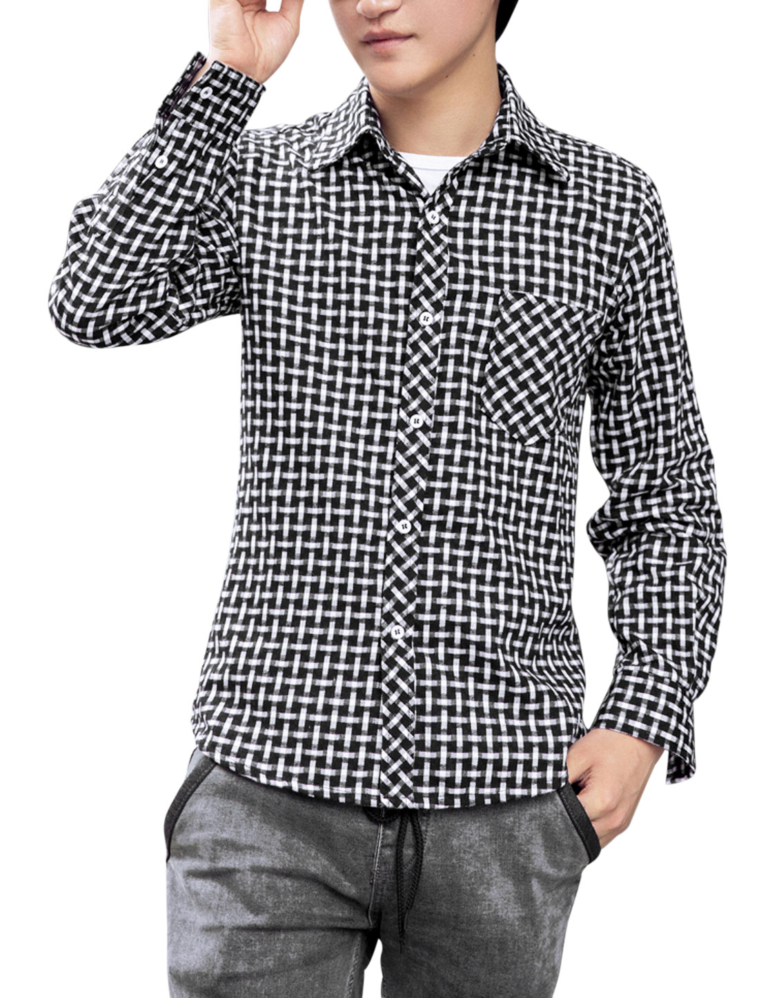 Men One Pocket Chest Plaids Pattern Slim Casual Shirt White Black M