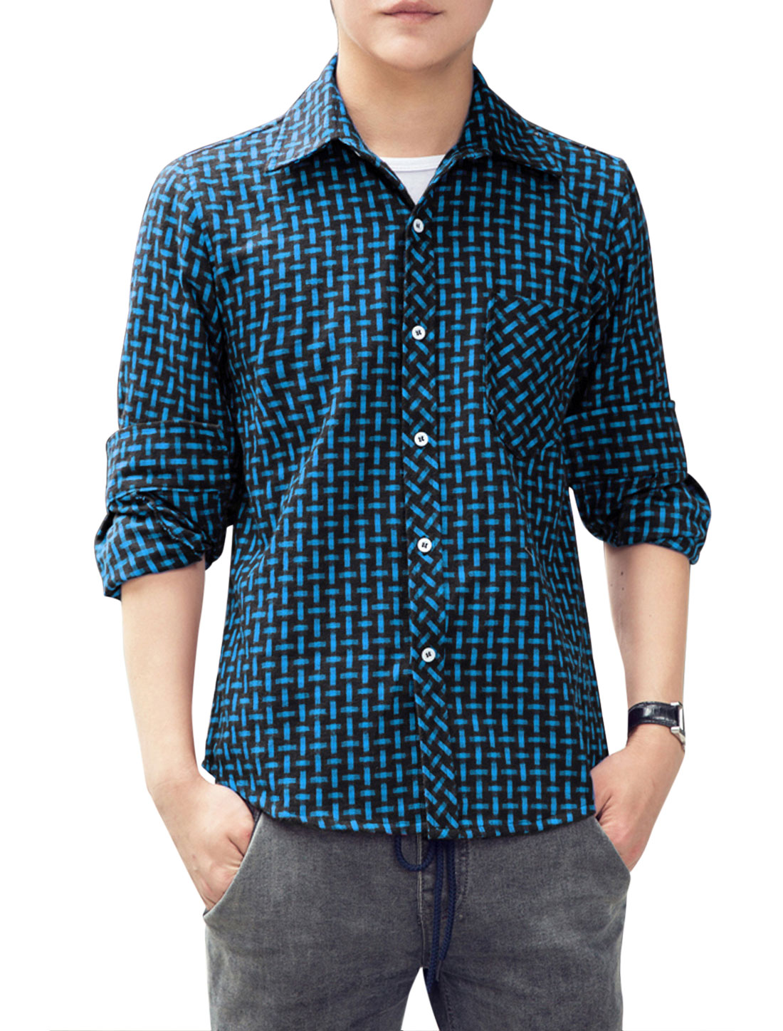 Men Point Collar Single Breasted Casual Shirt Blue Black M