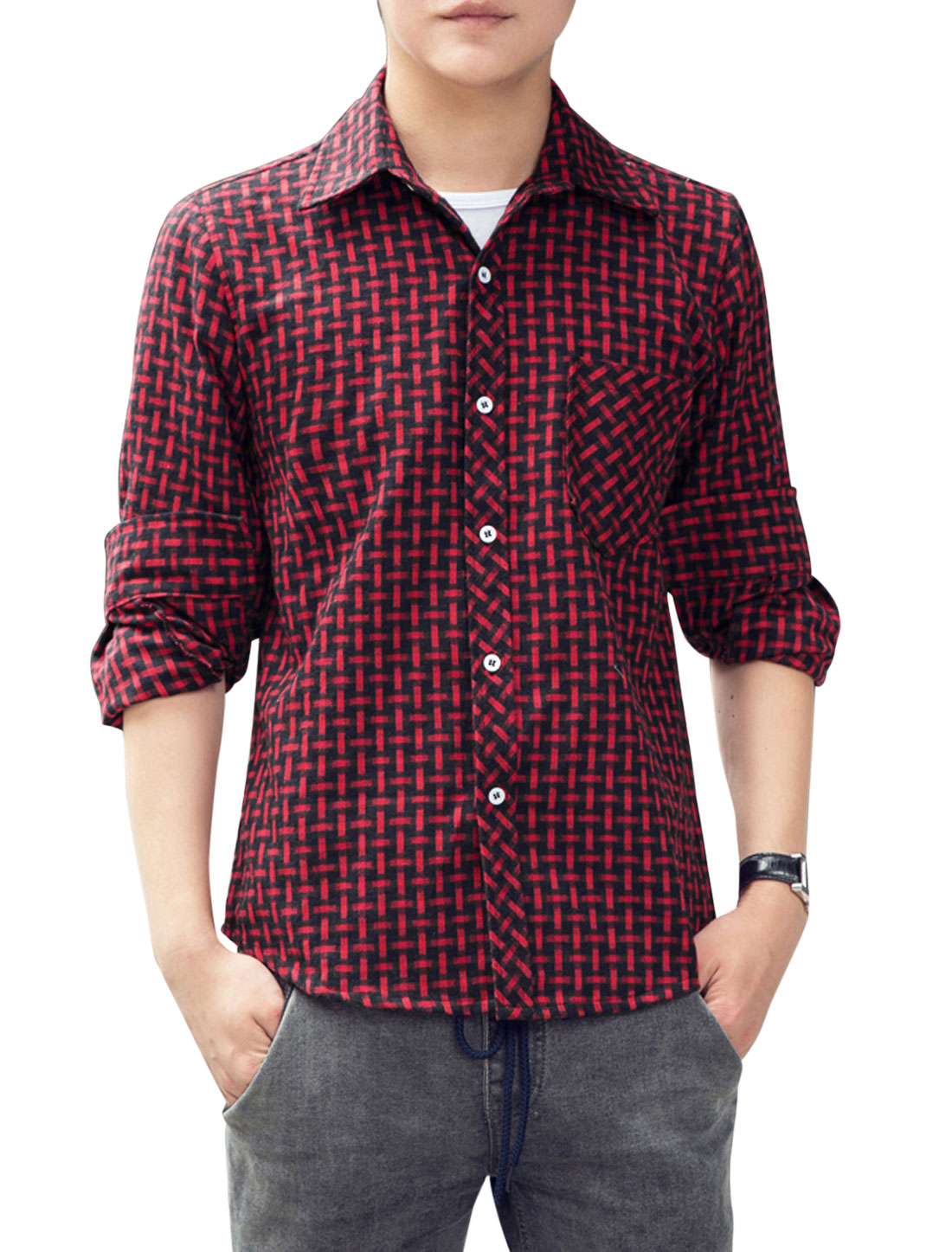 Slim Fit Point Collar Round Hem Casual Shirt for Men Red Black M