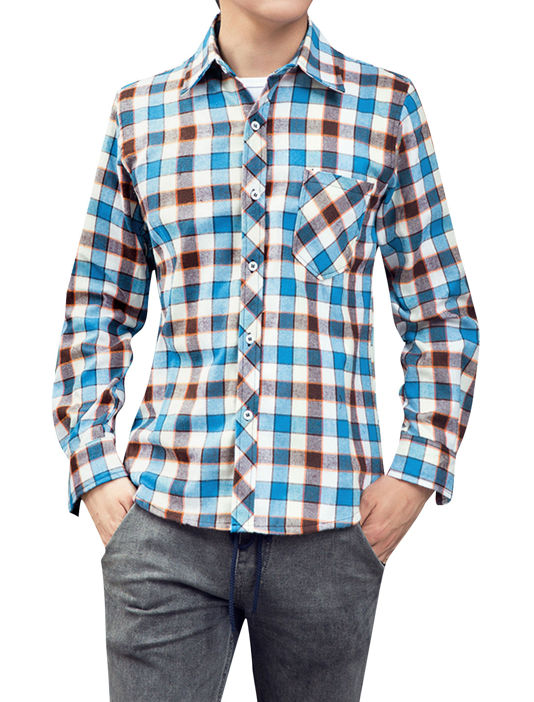 Men Button-Front All Over Plaids Chest Pocket Casual Shirt Blue Brown M