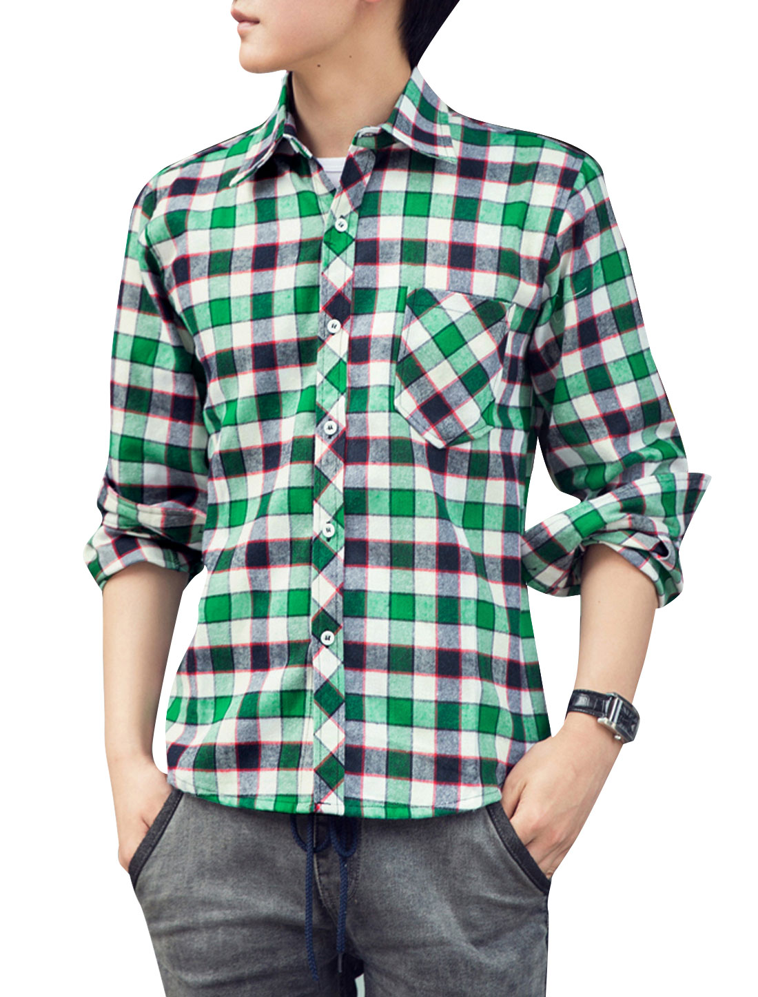 Men Point Collar All Over Plaids Long Sleeve Casual Shirt Green Navy Blue M