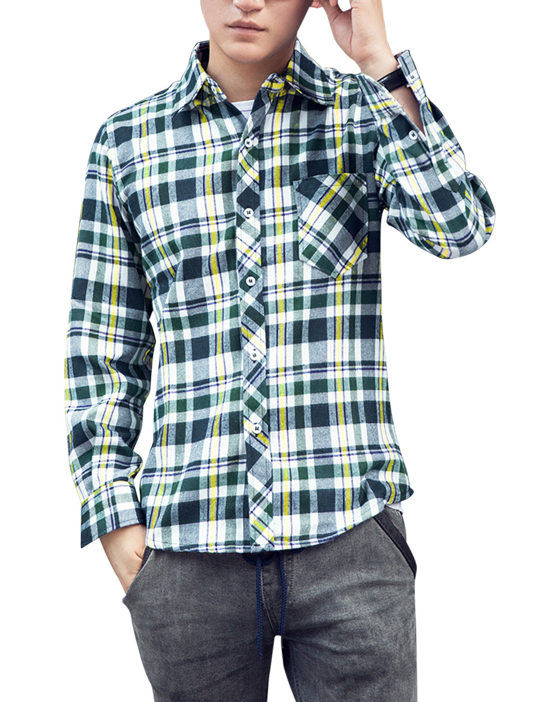 Men All Over Check Pattern Chest Pocket Button-Front Casual Shirt Green Navy Blue M
