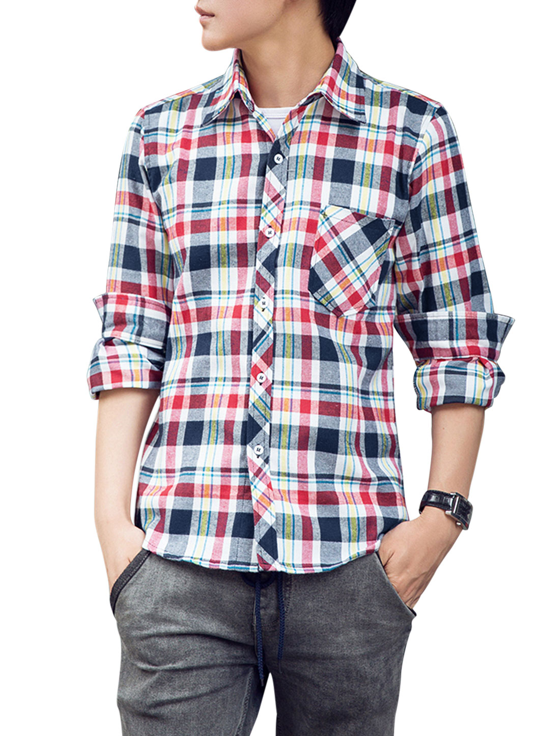 Men All Over Check Pattern Long Sleeve Button-Front Casual Shirt Red Navy Blue M