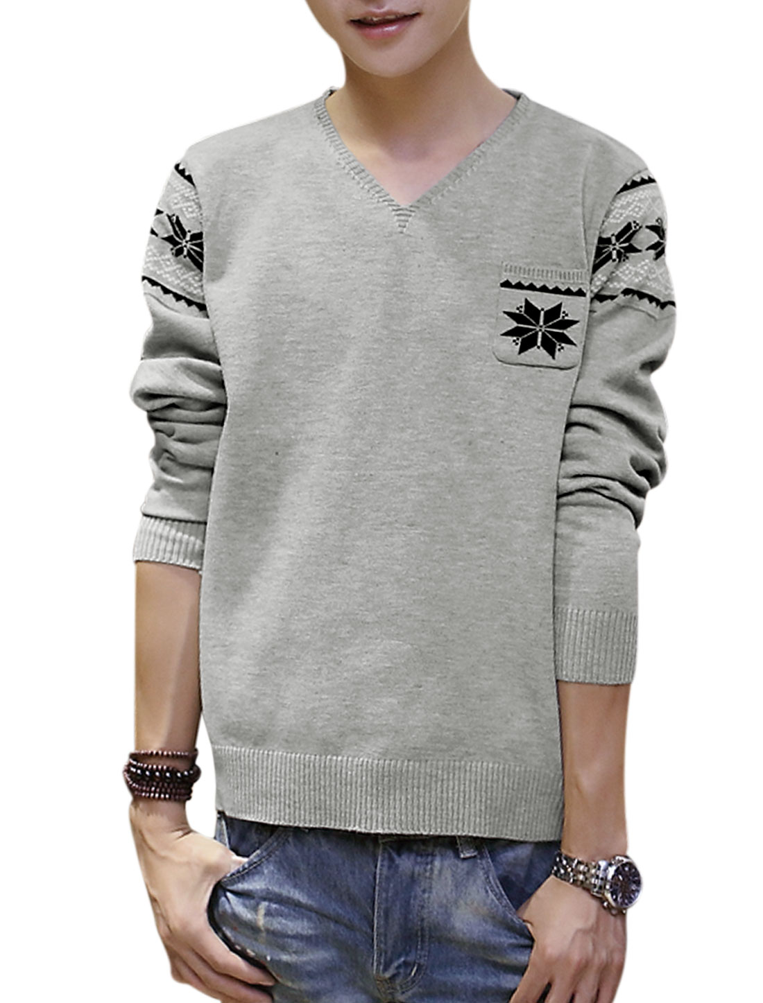 Men Pullover Geometric Detail Single Chest Pocket Knit Shirt Light Gray S