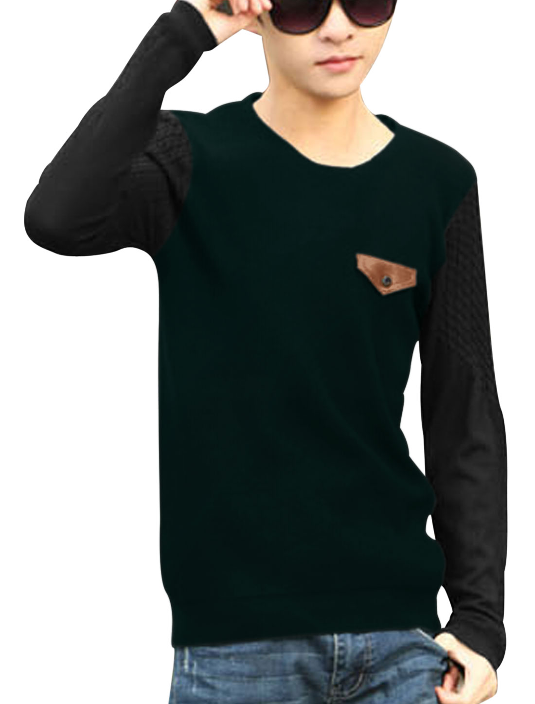 Men Pullover Color Block Long Sleeve Casual Knit Shirt Dark Green S