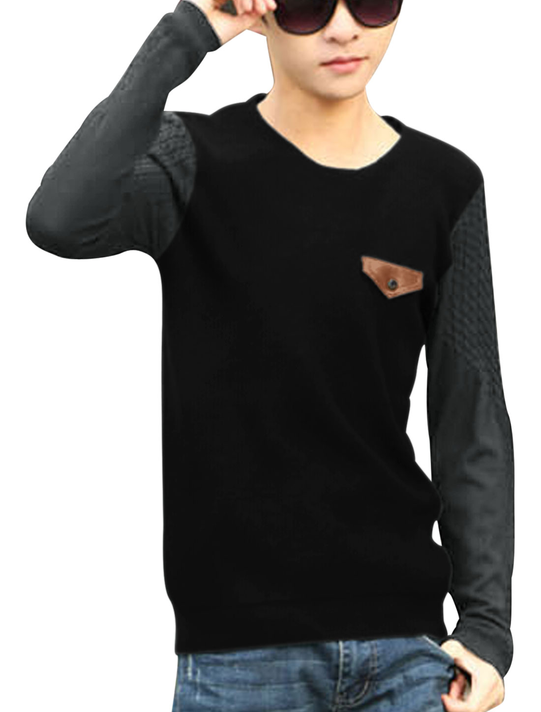 Men Contrast Color Mock Chest Pocket Slipover Casual Knit Shirt Black S