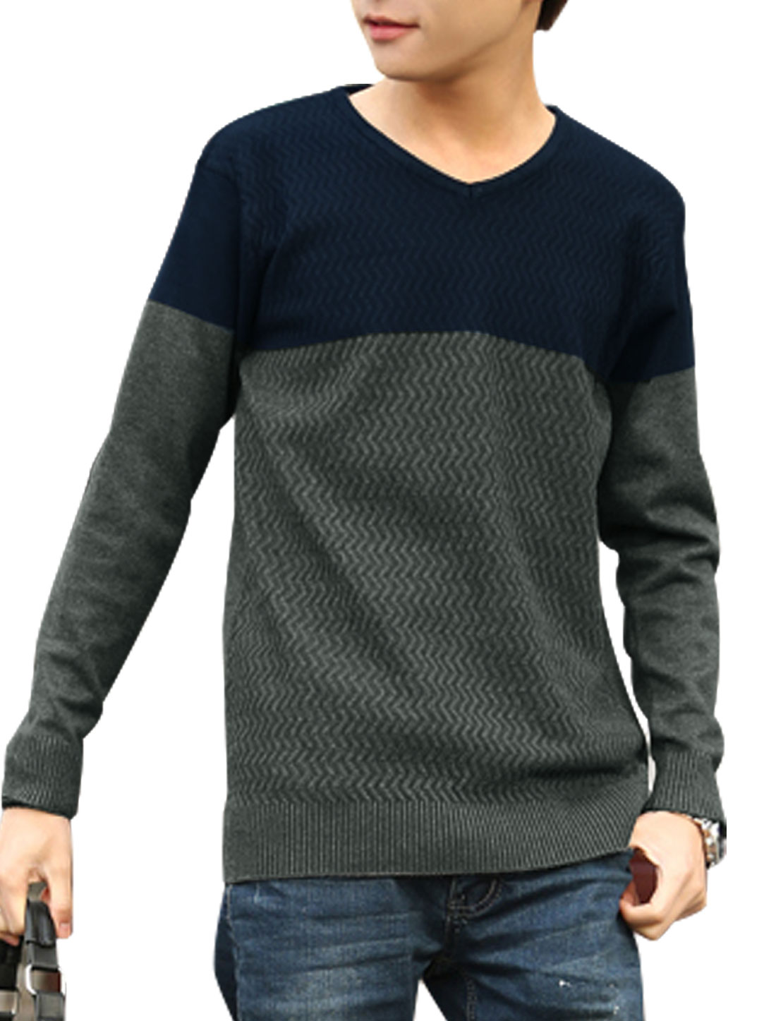 Men V Neck Contrast Color Long Sleeve Casual Knit Shirt Navy Blue Gray S