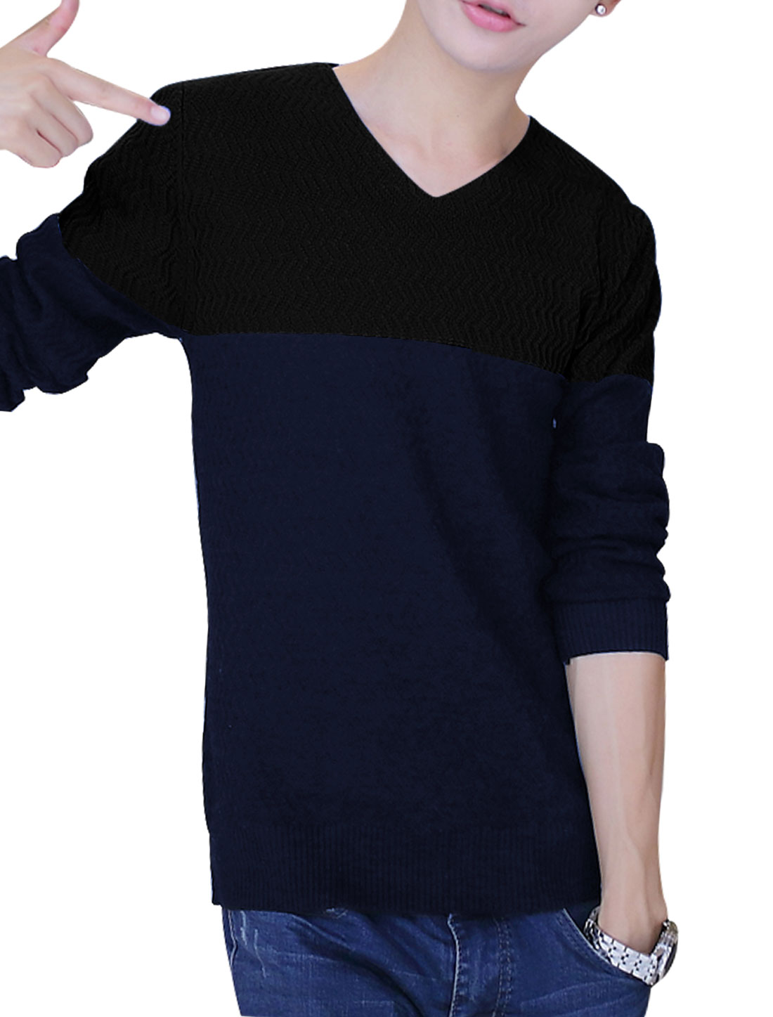 Men V Neck Slipover Color Block Casual Knit Shirt Black Navy Blue S
