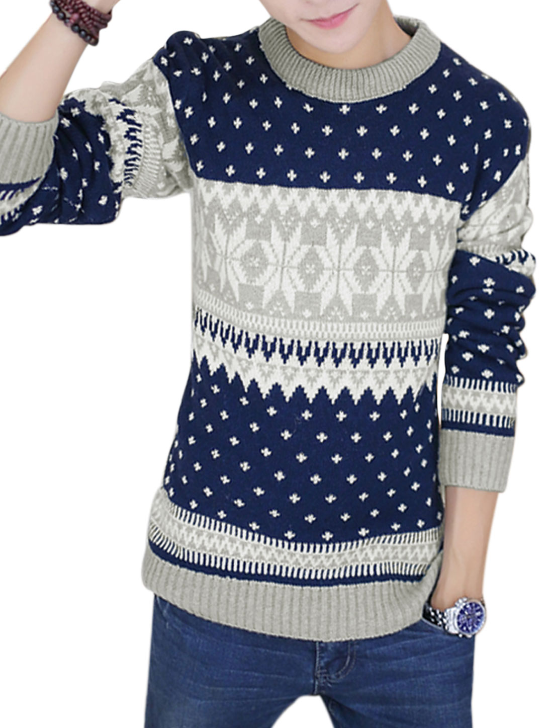 Men Crew Neck Geometric Zig-zag Pattern Long Sleeve Sweater Light Gray M